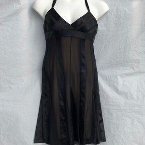 BCBG Maxazria black sheer lined halter dress sz 12
